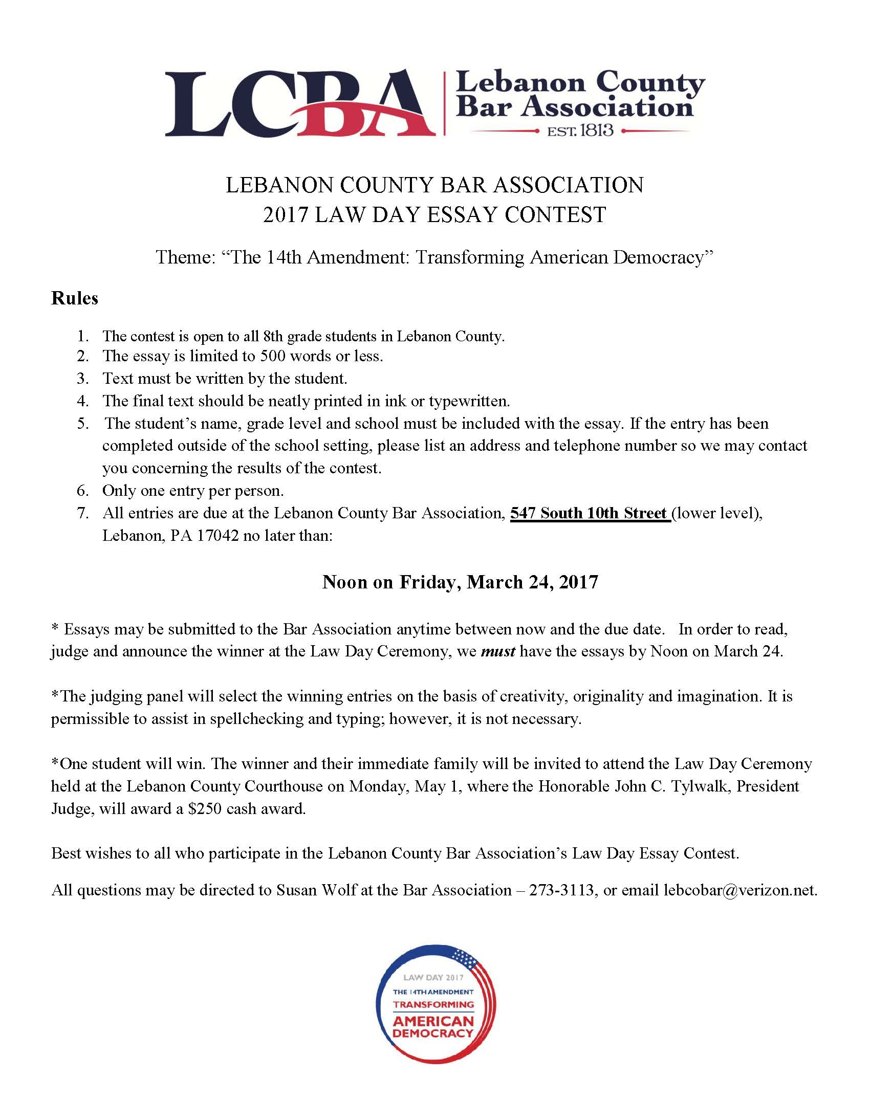 news events county bar association president judge john c tylwalk will present the award to the winner contest deadline is noon on 24 rules and guidelines for the essay contest